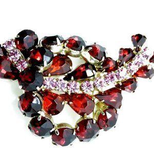 Rhinestone Brooch Red Pink Schiaparelli Style